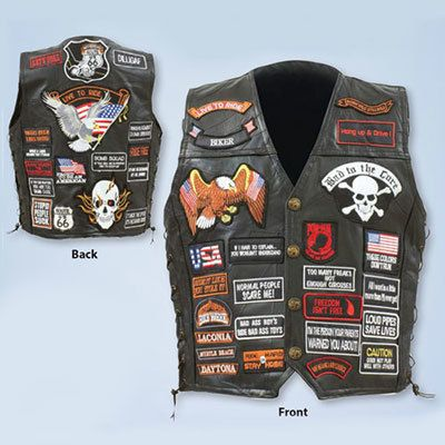Patriotic Leather Biker Vest
