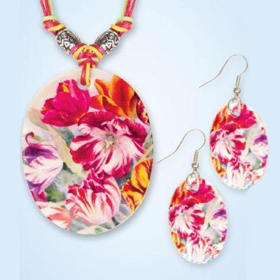 Floral Garden Shell Jewelry Set