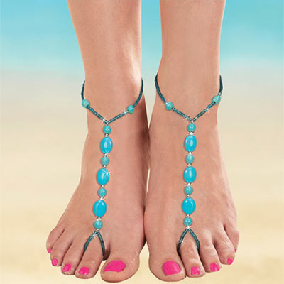 Faux Turquoise Barefoot Sandals