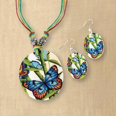 Artisan Butterfly Shell Jewelry Set