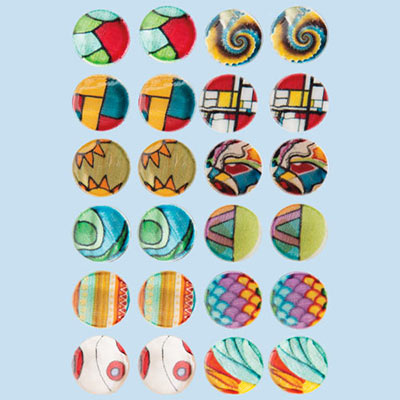 Vibrant Art Shell Earring Set