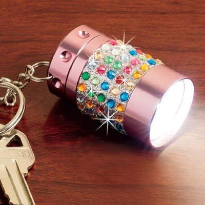 Pink Bejeweled Ultra Flashlight Keychain