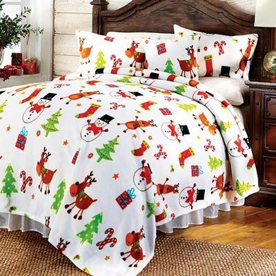 White Christmas Fleece Blanket & Accessories