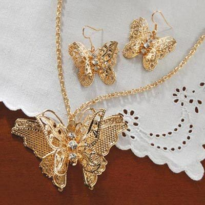 3-D Filigree Butterfly Jewelry Set