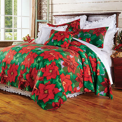 Poinsettia Fleece Blanket & Accessories