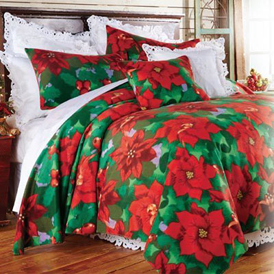 Poinsettia Fleece Blanket & Accessories