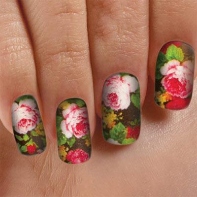 Rose Bouquet Nail Appliqu&egraves - Set of 14