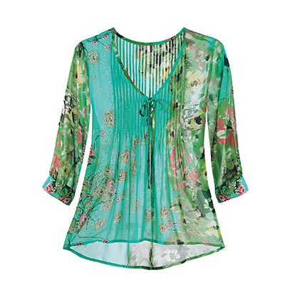 Floral Watercolor Chiffon Top