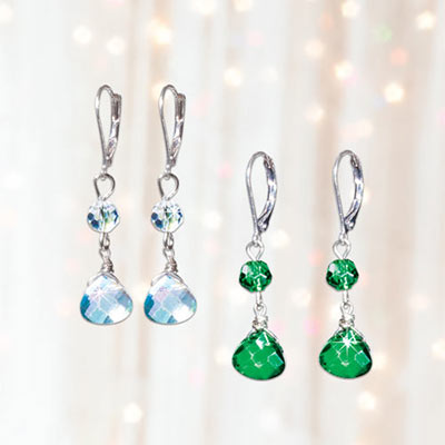 Green Crystal Faceted Dangle Earrings