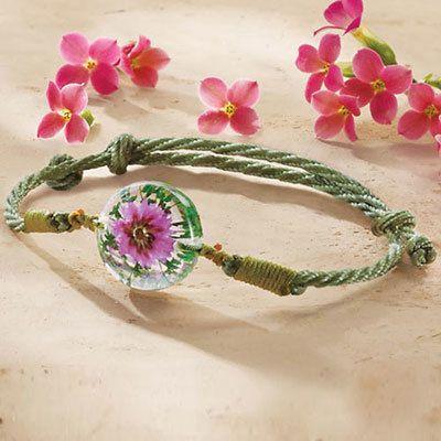 Pink Everlasting Flower Bracelet