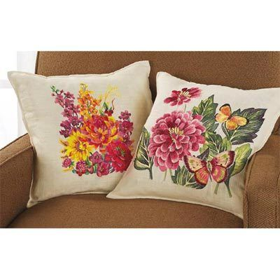 Embroidered Floral Pillow Covers