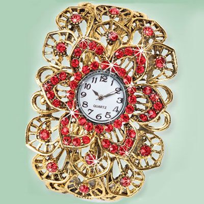 Dazzling Red Floral Watch