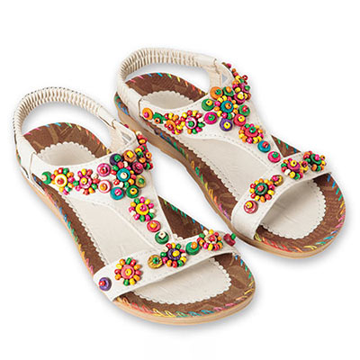 Beaded & Stitched Sandals