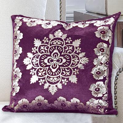 Silver Medallion Velour Pillow Cover