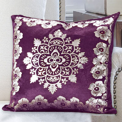 Silver Medallion Velour Pillow Cover