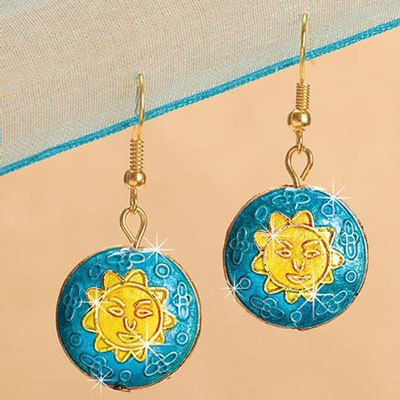 Aztec Summer Cloisonné Earrings