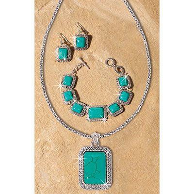 Faux Turquoise Southwest Jewelry Set