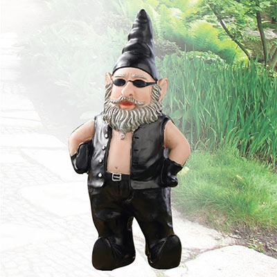 Biker Gnome Garden Sculpture