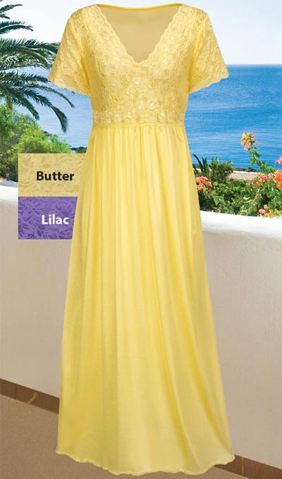 Goddess Stretch Lace Nightgown - Buttercream
