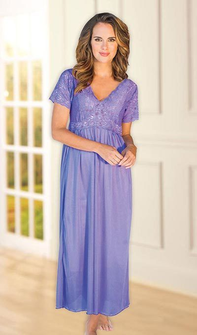 Goddess Stretch Lace Nightgown - Lilac