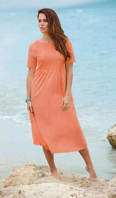 Neat Pleat Dress - Peach