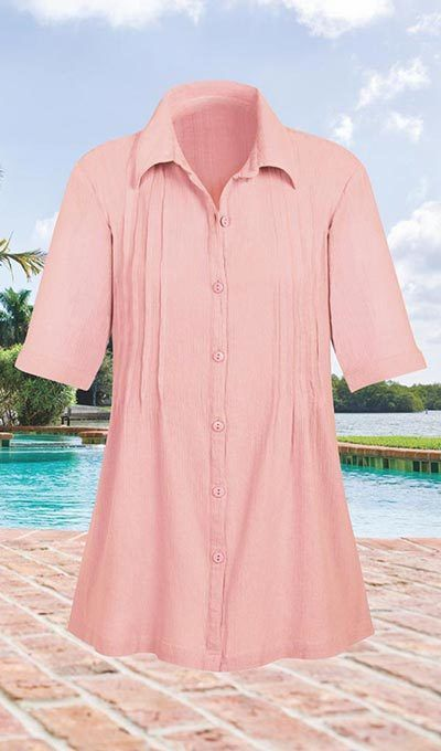 Pintuck Crinkle Cotton Tunic