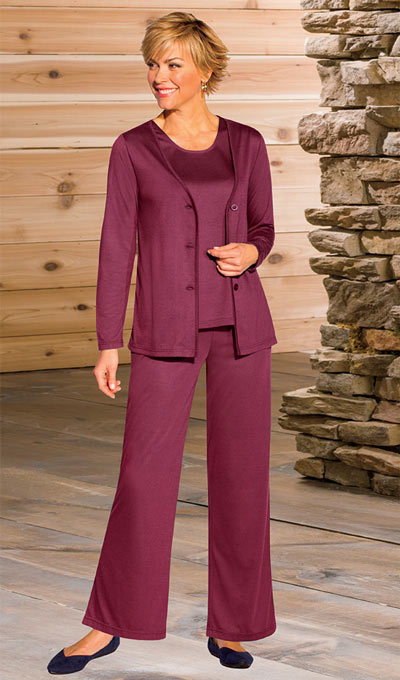 Classic 3-Piece Pant Set - Berry