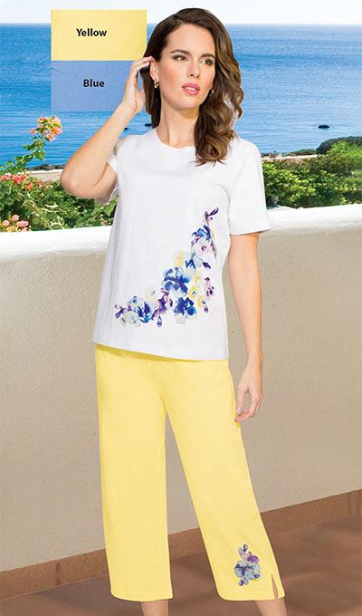 Feminine Floral Capri Set