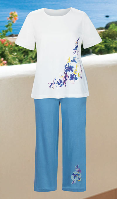 Feminine Floral Capri Set - Blue