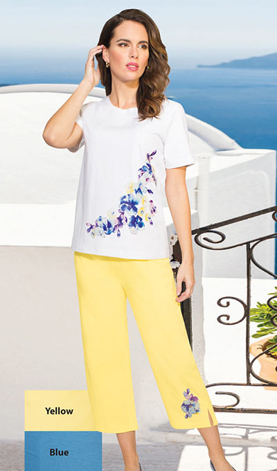 Feminine Floral Capri Set - Yellow
