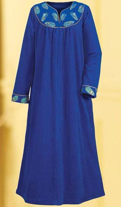 Majestic Peacock Embroidered Velour Robe