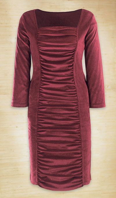 Shirred Velvet Dress