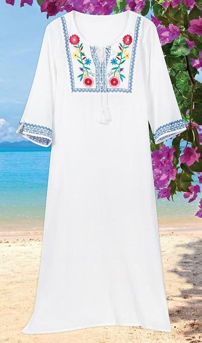 Summertime Embroidered Floral Lounger