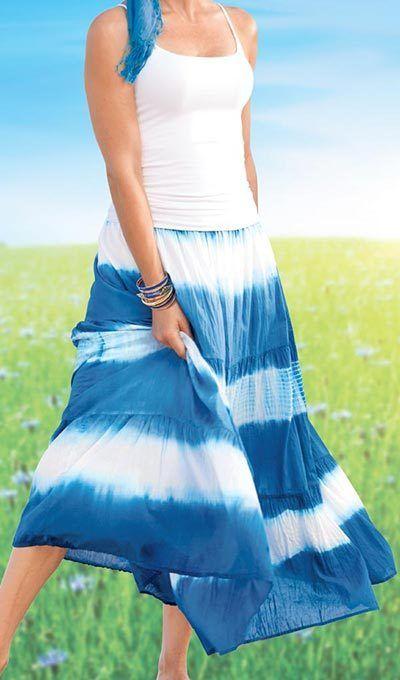 Ocean Waves Tie-Dye Skirt