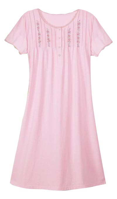 Pintuck Embroidered Nightgown