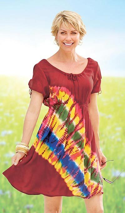 Red Rainbow Tie-Dyed Dress