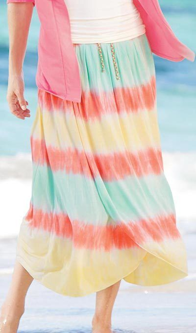 Soft Tie-Dyed Faux Wrap Skirt