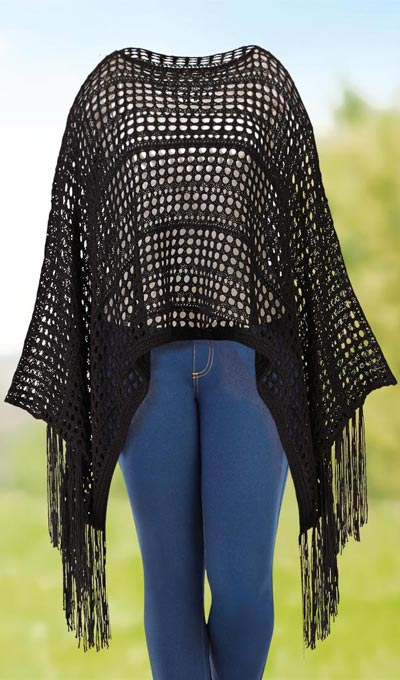 Open Weave Fringed Shawl