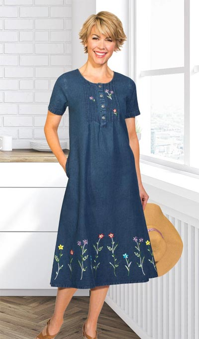 Flowery Embroidered Denim Dress