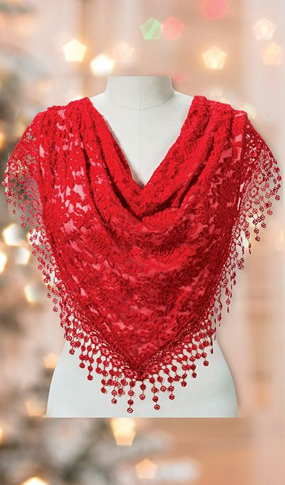 Red Lace Droplet Scarf