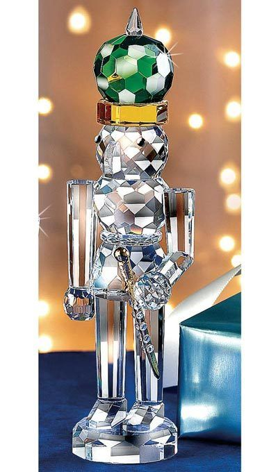 Crystal Nutcracker Prince with Green Hat and Sword