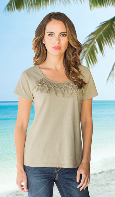 Short Sleeve Fringe Top - Stone