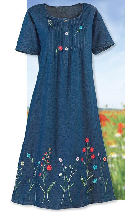 Flowery Denim Dress