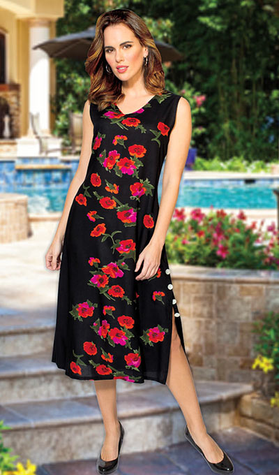 Flowery Black Dress