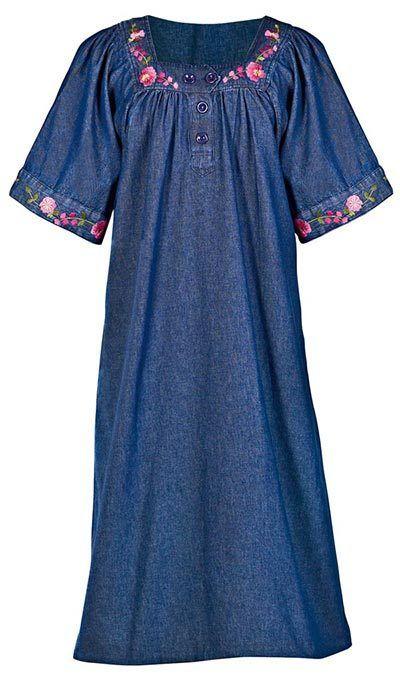 Embroidered Denim Patio Dress