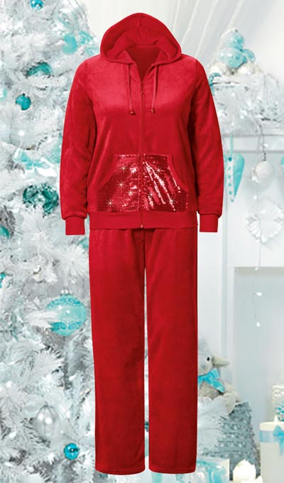 Festive Sequin Velour Lounge Set