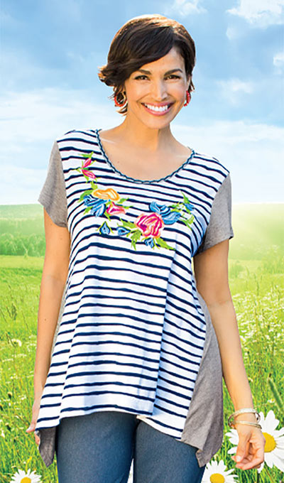 Striped Flowery Tee