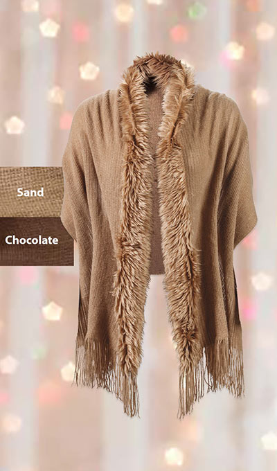 Faux Fur Trimmed Shawl
