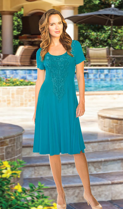 Dramatic Lace Medallion Dress