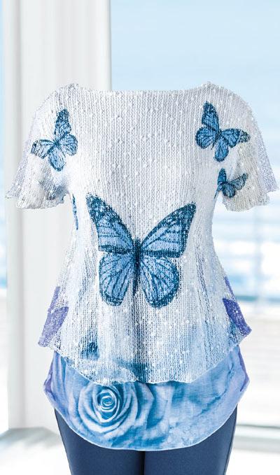 Wintery Butterflies Top